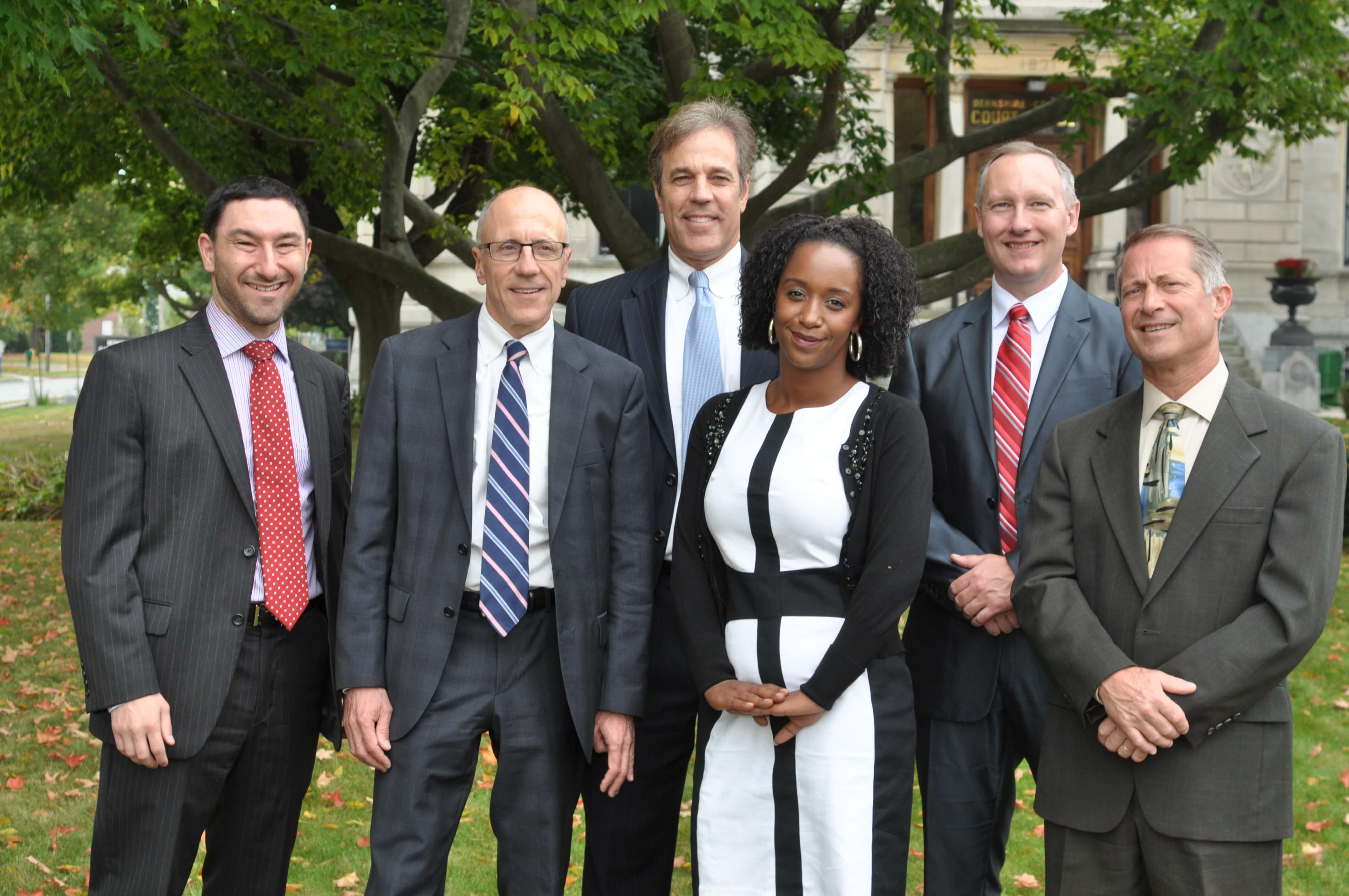 Attorney Matt Mozian, Tom Campoli, Peri Campoli, Scott Ellis, Robert Monteleone, Jr. with Myia Gaulden in Pittsfield, MA